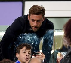 Claudio Marchisio is seen in the stands during the FIFA 2018 World Cup Qualifier between Italy and Spain at Juventus Stadium on October 6, 2016 in Turin, Italy.