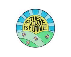 Future is female enamel lapel pin