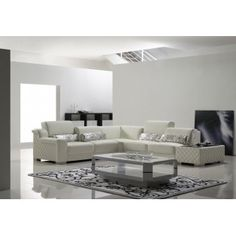Modern White Leather Sectional Sofa with Quilted Leather Ottoman