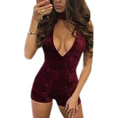 Hot Sexy Velvet Playsuits Women Deep V-neck Sleeveless Short Rompers Party Jumpsuit Nightclub Bodycon Bodysiut Skiny S-3XL GV506