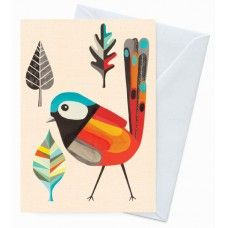 Eco Friendly Greeting Card - Red Winged Wren Designed by Inaluxe for Earth Greetings.