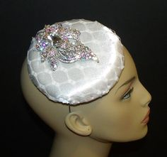 White Fascinator with large rhinestone piece by OvertheTopHats, $99.00