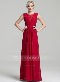 A-Line/Princess Scoop Neck Floor-Length Chiffon Mother of the Bride Dress With Ruffle Beading (008091965)
