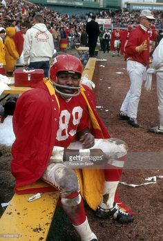 CITY, MO - CIRCA Wide Receiver Otis Taylor of the Kansas City Chiefs in this portrait sitting on the bench circa early during an NFL football game at Municipal Stadium in Kansas City,. Get premium, high resolution news photos at Getty Images But Football, Canadian Football, American Football League, Nfl Football Players, Kansas City Chiefs Football, Football Photos, Sport Football, National Football League, School Football
