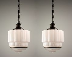 Sold Two Matching Antique Art Deco Skyser Pendant Lights C 1930 S