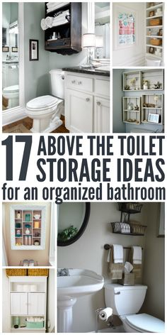 Perfect orgnization ideas for that dead space above the toilet, or even for those with little bathroom storage - One Crazy House