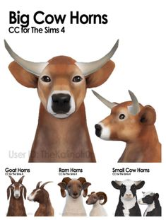Cow, Goat and Ram Horns for The Sims 4