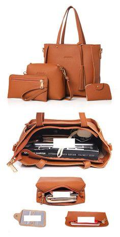 4 PCS PU Leather High-end Handbags For Women Shoulder Bags  purseshighend High  End cab21591f599d