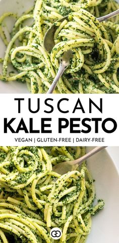 A quick and easy dinner recipe, perfect for fall and winter! This Tuscan kale pesto comes together in less than 30 minutes and it's perfect as an easy weeknight dinner. Plus it's easy to freeze. Ideal for meal prep! Vegan, gluten-free, diary-free!