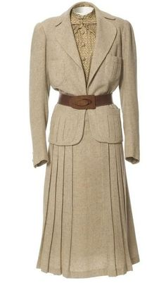Jeanne Paquin Spring Suit 1937 | 30s fashion style cream wheat suit white brown belt blouse jacket skirt http://sheepandchick.blogspot.co.nz/