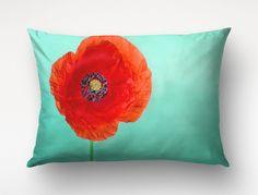 Poppy Pillow, Red Flower Art, Macro Photography, Red Turquoise Decor, Lumbar Pillow by Macrografiks on Etsy https://www.etsy.com/listing/246728761/poppy-pillow-red-flower-art-macro