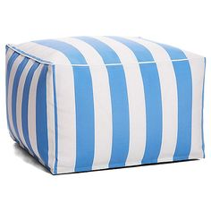 Cabana Outdoor Large Square Pouf, Blue Now: $79.00 Was: $99.00