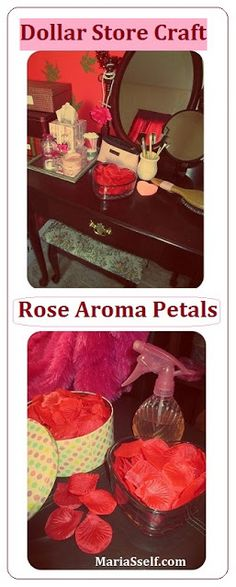 Dollar Store Craft: Homemade Natural Aromatherapy Ideas with Products from Dollar Tree - DIY Rose Aroma Petals for Dressing Room / Vanity Table