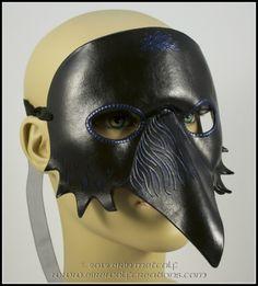 Raven mask leather crow costume Halloween Trickster larp bird art