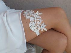 Jarretelles de mariage ivoire, en dentelle et perles de verre