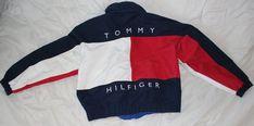 Jahrgang Tommy Hilfiger Herren Kapuzen-Mantel Jacke XL Flagge