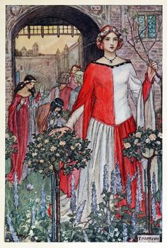 oldbookillustrations:  Fair Jehane du Castel Beau Wore her wreath till it was dead Illustration by Florence Harrison, from Early poems of William Morris, New-York, 1914. Via archive.org.