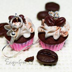 Coffee Cupcake Earrings. Polymer Clay by ukSugarfreejewellery, £9.90
