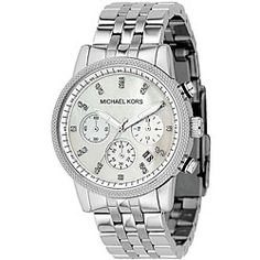 Michael Kors Women's MK5020 Mother of Pearl Chronograph Stainless Steel Watch | Overstock.com Shopping - Big Discounts on Michael Kors Women's Michael Kors Watches