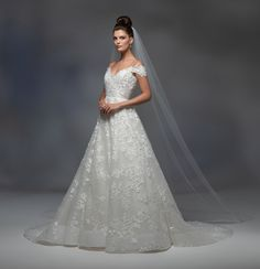 Style 32100 Vienna Lazaro bridal gown - Ivory petal embroidered A-line gown, strapless sweetheart neckline with off the shoulder cap sleeve, corset bodice, natural waist, circular skirt with horsehair trim, chapel train.Vienna veil - 32100_VL - Ivory cathedral length veil with petal embroidered applique at end with cut edge. Lazaro Dresses, Lazaro Wedding Dress, Lazaro Bridal, Bridal Wedding Dresses, Wedding Bells, Strapless Sweetheart Neckline, A Line Gown, Designer Gowns, One Shoulder Wedding Dress