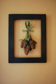 Framed Pine Cones / Would additionally look nice sans-frame with just a few pine or berry sp. Framed Pine Cones / Would additionally look nice sans-frame with just a few pine or berry sprigs inserted on the knot. Rustic Christmas, Christmas Time, Merry Christmas, Primitive Christmas, Christmas Baubles, Homemade Christmas, Fall Crafts, Holiday Crafts, Diy Crafts