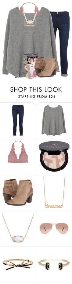 """""""in desperate need of some chinese food"""" by ellaswiftie13 on Polyvore featuring Frame, MANGO, Humble Chic, Anastasia Beverly Hills, Lucky Brand, Jennifer Meyer Jewelry, Kendra Scott, Ray-Ban, Kate Spade and Huda Beauty"""