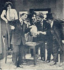 Still from the 1911 silent film Prompt Payment. The film is lost.