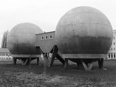 Spherical laboratory buildings, Berlin-Adlershof, built 1959-61. Built for temperature-controlled experiments in aviation metallurgy; now a protected monument.