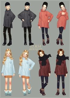 "sims4-marigold: ""• Child_unisex_Long Sweater_here • Child_unisex_Ripped Jeans & Leggings_here "" Girl only"