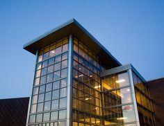 De Mattias Fine Arts Center at sunset by Newman University, via Flickr