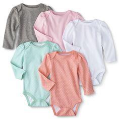 Circo� Newborn Girls' 5 Pack Long-sleeve Bodysuit