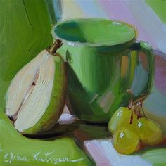"""Still life in Green"" - Original Fine Art for Sale - © Elena Katsyura"