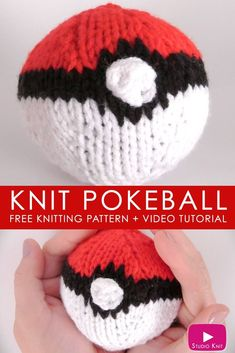 Fun knitted softie the kids will love! How to Knit a POKEBALL from Pokemon with Studio Knit #StudioKnit #pokeball #knitsoftie #knittedsoftie