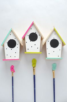 #DIY hand-painted bird houses  http://www.kidsdinge.com www.facebook.com/pages/kidsdingecom-Origineel-speelgoed-hebbedingen-voor-hippe-kids/160122710686387?sk=wall http://instagram.com/kidsdinge