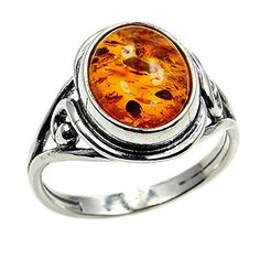 Sterling Silver Natural Baltic Amber Ring, Size 8  Price : $32.95 http://www.silverplazajewelry.com/Sterling-Silver-Natural-Baltic-Amber/dp/B00YTMG0XQ