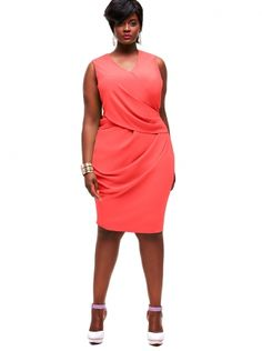 """Jane"" Draped Cocktail Dress -Coral - Cocktail Dresses - Clothing - Monif C"