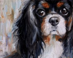 PRINT Cavalier King Charles Spaniel Dog Puppy Art Print Oil Painting Gift / Mary Sparrow of Hanging the Moon Studio - Bates Dog Hotel Roi Charles, Cavalier King Charles Spaniel, Spaniel Puppies, Corgi Puppies, Cocker Spaniel, Dog Paintings, Dog Portraits, Rottweiler, Dog Art
