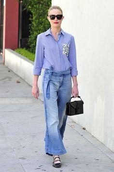 Kate Bosworth wearing Christopher Kane Safety Buckle Patent Leather Shoulder Bag, Carven Black Patent Leather Shoes, Celine Cl41097 Strat Screen Sunglasses and Thakoon For Designation Print-Pocket Shirt