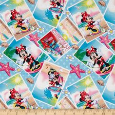 Disney Minnie Mouse Summertime Blue from @fabricdotcom  Designed by Disney and licensed to Springs Creative Products, this cotton print fabric is perfect for quilting, apparel and home decor accents. Colors include black, brown, red, orange, green, grey, yellow, white, shades of blue, shades of pink, and shades of peach. Due to licensing restrictions, this item can only be shipped to USA, Puerto Rico, and Canada.