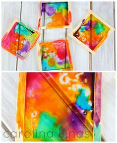 vidrieras manualidades para niños 4 Preschool Arts And Crafts, Infant Activities, Art For Kids, Decoupage, My Arts, Lily, Diy Crafts, Watercolor, Painting
