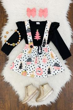 Pink & Gold Christmas Tree Suspender Skirt Set - Sparkle In Pink Cute Baby Girl Outfits, Cute Outfits For Kids, Toddler Girl Outfits, Boy Outfits, Girl Toddler, Little Kid Fashion, Baby Girl Fashion, Toddler Fashion, Kids Fashion
