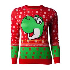 Nintendo - Super Mario Yoshi Christmas knitted ladies sweater red / green Womens Christmas Jumper, Christmas Jumpers, Christmas Sweaters, Red Sweaters, Sweaters For Women, Christmas Night, Christmas Knitting, Super Mario Bros, Everyday Outfits