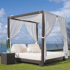 Modern Outdoor Daybed with Canopy for Unique Patio Furniture Design: Patio Canopy Bed Outdoor Cabana, Outdoor Daybed, Outdoor Lounge, Outdoor Furniture, Outdoor Living, Wicker Furniture, Garden Furniture, Outdoor Sofas, Antique Furniture