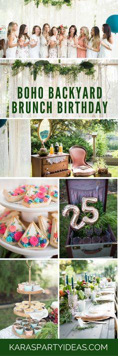 Boho Backyard Brunch Birthday Party via Kara's Party Ideas | KarasPartyIdeas.com
