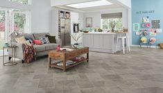 Karndean looks at Knight Tile timeless slate designs Slate Floor Kitchen, Open Plan Kitchen, Kitchen Flooring, Natural Flooring, Slate Flooring, Flooring Ideas, Slate Effect Tiles, Karndean Knight Tile, Interior Decorating