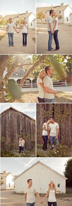 Engagement photos in old town setting