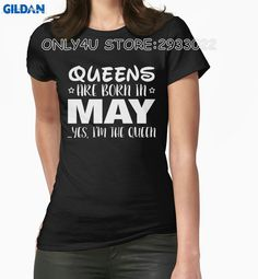 Gildan Only4U Unique T Shirts Zomer Queens Are Born In May Yes I Am The Queen T Shirts #Affiliate