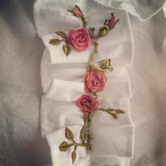 Embroidering a rose vine on the front ruffle of this white cotton shirt.... It's rainy and it's still winter.. But I am planning for summer!-I can not wait to wear this💕🙂. #girlythings #ruffles #roses #vintagestyle #whitedress #sewing #summerfashion #makers #inthestudio #instaembroideryguild #petitejoys
