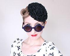 1940s Hat / VINTAGE / Toy / Tilt / Fascinator / 40s Hat / Ruffles / Flower / Black / CHARMING
