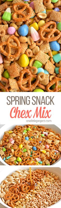 This spring snack Chex mix is the PERFECT combination of sweet and salty. It tastes soooooooo good!! And the colours are so beautiful for spring and Easter!